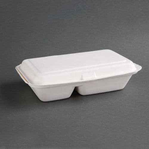 FC524 Fiesta Green Compostable Bagasse Two-Compartment Hinged Food Containers 253mm (Pack of 200)